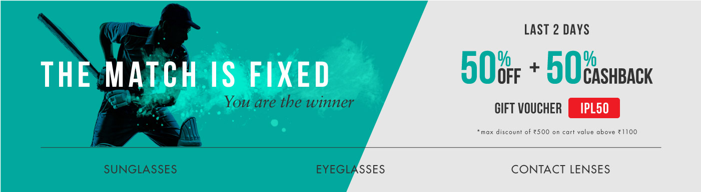 Flat 50% off + Extra 50% Cashback on Sunglasses, Eyeglasses & Contact Lenses @ Lenskart – Fashion & Apparels